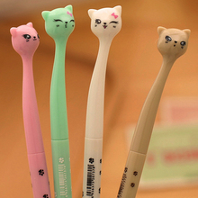 0.5mm Cute Kawaii Plastic Ink Gel Pen Cartoon Cat Pens For School Writing Office Supplies Korean Stationery Free Shipping 2102(China)