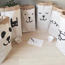 10 pcs popular heavy kraft paper bag,Animal Letter Cross Paper Storage Bags,Toys Clothes Kids Wall Pocket Children Room