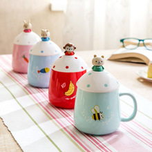 High quality 3D ceramic cartoon cute mug with lid and spoon  4 colors option free shipping
