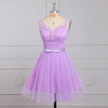 2016 Popular Style Lavender Cocktail Dress Lace Dot Tulle Sleeveless V-neck Short Prom Gown vestidos de coctel Custom Made C11