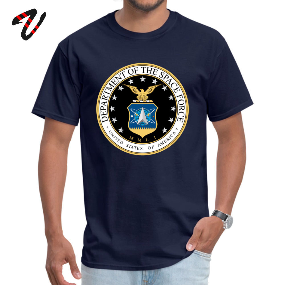 Prevailing Male Tops & Tees Space Force Crazy T Shirt Pure Cotton Short Sleeve Personalized Tops Tees Crew Neck Space Force17903 navy