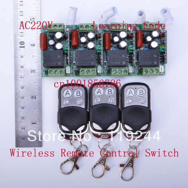 Hot!220V 1CH 10A 315Mhz/433Mhz Learning Code RF Wireless Remote Control Power Switch System M4/T4/L4 output state is adjusted<br>