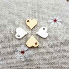 High Quality 50 Pieces/Lot 8*9mm Gold/Silver Plated Jewelry Accessory Small Polished Heart Charms For Jewelry Making