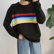 Autumn and Winter The New Korean Version of The College Wind Color Striped Knit Cape Rainbow Sweater Women