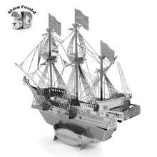 3D Metal Puzzles Model DIY Jigsaws Silver Ship Model Educational Toys for Kids Famous Sailing Boat Golden Hind Corsair