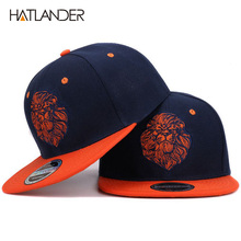 High quality lion face embroidery snapback cap cool king hip hop hat for boys and girls(China)