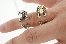 Oly2u 2017 New Animal Handmade Cute Dachshund Ring Fashion Antique Gold Silver Vintage Adjustable Rings for Women -R319
