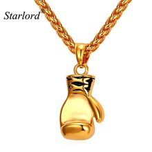 Starlord Boxing Glove Pendant Charm Necklace Sport Boxing Jewelry 316L Stainless Steel/Gold Color Chain For Men New GP2213(China)
