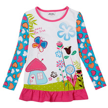 Nova Kids girls long sleeves t shirts cartoon flower character children clothes fashion baby t shirts desgins hot selling tees(China)