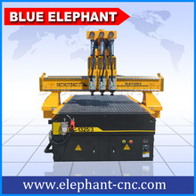 cheap sculpture wood carving cnc router machine with vacuum table and dust collector,three heads cnc router