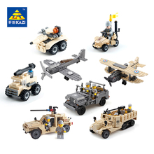 KAZI Military Building Blocks Army Brick Block Brinquedos Toys for Kids Tanks Helicopter Aircraft Vehicle Tank Truck Car Model