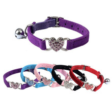 Adjustable Lovely Heart Shape Diamond Small Dog Cat Pet Velvet Collar With Bell 5 Colors(China)