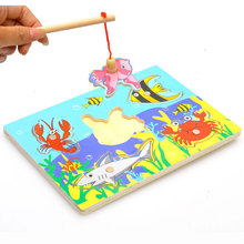 2016 New Cute Creative Wooden Magnetic Fishing Game & Jigsaw Puzzle Board Children Toy(China)