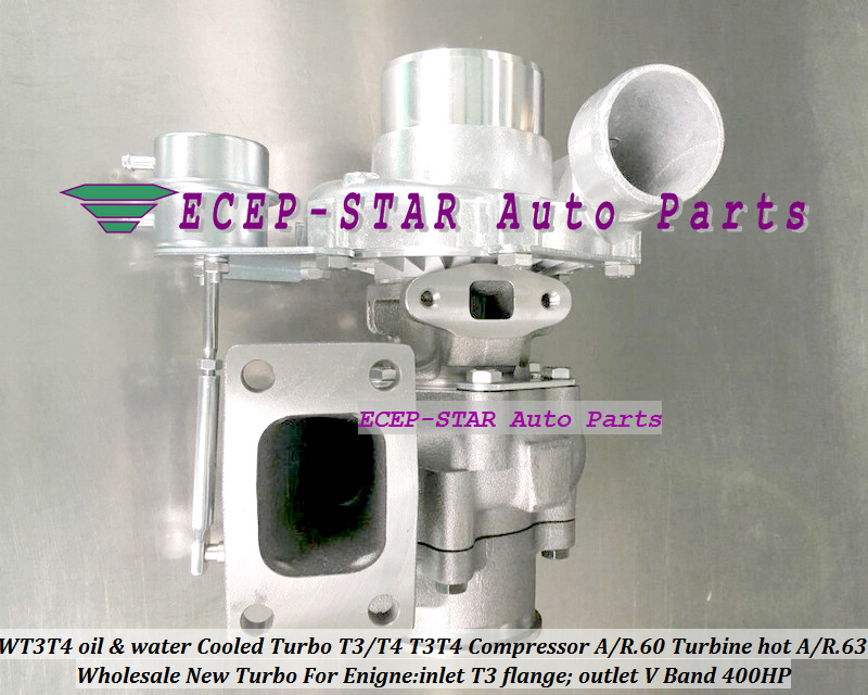 WT3T4 oil Cooled Turbo T3T4 T3T4 Internal Wastegate;Compressor AR .60 Turbine hot AR.63 inlet T3 flange;outlet V Band 400HP (4)
