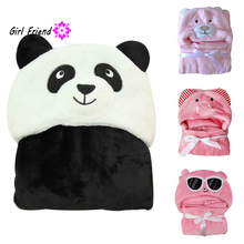 QQH Comfortable Baby Bathrobe Cute Animal Cartoon Babies Blanket Kids Hooded Bathrobe Toddler Baby Bath Towel