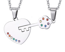 Necklace Jewelry pendant heart - shaped unlock couple pendant sticky color rainbow ornaments Necklaces & Pendants(China)