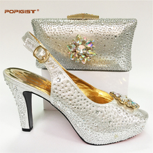 Wedding shoes and bag set decorated with flower crystal Italian shoe with matching bag new design ladies matching shoe and bag(China)