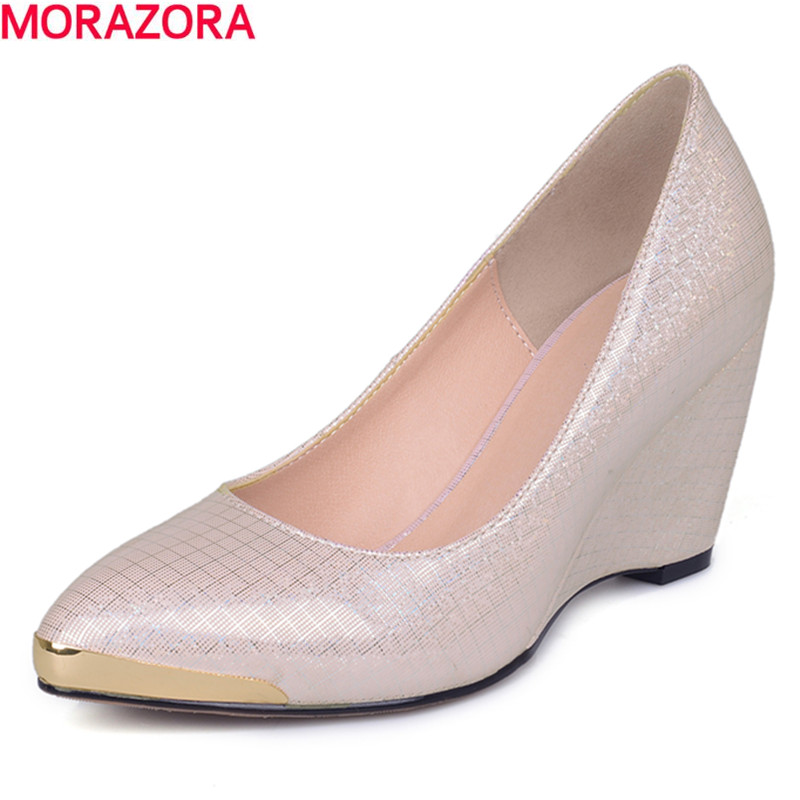 MORAZORA 2017 summer new fashion pointed toe women pumps sexy hgih quality PU leather slip on party shoes woman<br>