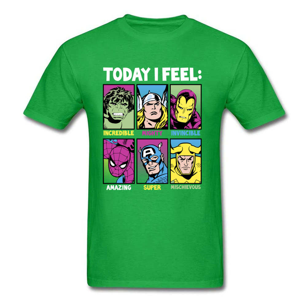 Star Wars Today I Feel Marvel Heroes T Shirts Funky Mens Summer/Autumn Tops Tees Casual Top T-shirts Crewneck 100% Cotton Fabric Today I Feel Marvel Heroes green