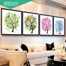 rich tree painting painting with Four Diamond Cross Stitch embroidered diamond diamond paste painting the living room(China)