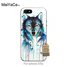 Hot Fashion Fun Dynamic phone case  For case iPhone 5 5s  Watercolor Wolf High Definition Printing PC