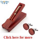Emoshire Wooden Pen Ballpoint Pen Roller Ball Pen Gift Set with Wood Cufflinks (1)