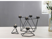 New Black Metal Geometry Tealight Candle Holders Stand Taper Candle Holders For Table Iron Home Wedding Tree Candlestick(China)