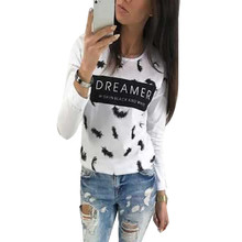 Women T-Shirt Letter Print Tee Shirt Fashion Printed Feathers Tee Top Women Clothing  LJ5929E