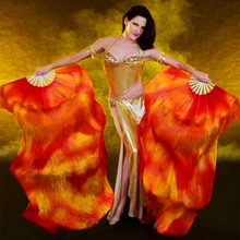1 Pair Dance Fans 100% Silk Stage Performance Props Tie Dye 180cm Women Belly Dance Silk Fans(China)