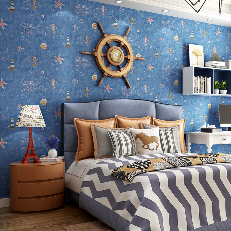 Blue Mediterranean Style Non-Woven Wallpaper Cartoon Childrens Room Boys And Girls Bedroom Backdrop Eco-Friendly Wallpaper Roll<br>