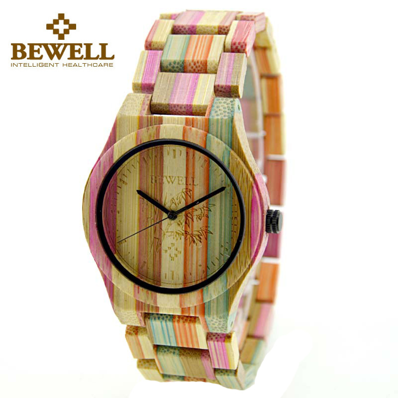 BEWELL W105DG Bamboo Wood Watch Men Quartz Wristwatches Round Case Pointer Display New High Quality Brand Casual Dress Watches <br>