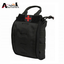 1000D Molle Tactical First Aid Kid Utility Medical Accessory Bag Pouch Black + Medic Cross Embroidery Patch with Magic Sticker