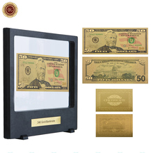 WR Festival Souvenir Gifts 50 Dollar 24k Gold Banknote Quality 999.9 Gold Foil Fake Money US Bill Note with Black Clear Box(China)