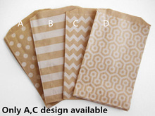 "100 Kraft Paper candy Bag 5 x7"" Polka Dots Stripes Buffet Popcorn Food Safe fries hamburger Fried Chicken Oil paper gift bag"
