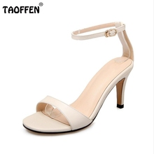 TAOFFEN Genuine Leather High Heel Sandals Women Ankel Strap Shoes Women Sandals Vacation Party Club Sexy Footwears Size 33-39(China)