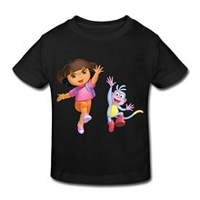 Youth Round Collar Customized Men's Sleeve Compression  Age 2-6 Kids Toddler Dora Explorer Little Boy's And Girl's Tee Shirt