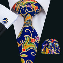 LS-1292 New Arrival Men`s Print Silk Tie High Quality Brand Design Blue Necktie Neckwear Hanky Cufflinks Sets For Party Wedding(China)