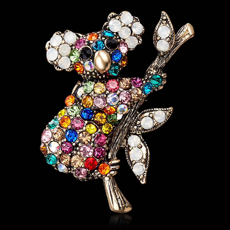 Mode-Stil Blume Papagei Vogel Tier Brosche Strass Kristall
