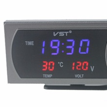 3 in 1 Car Thermometer Voltmeter Auto Indoor Outdoor Digital Autos Car Styling Termometor Temperature Voltage Meter Alarm Clock(China)