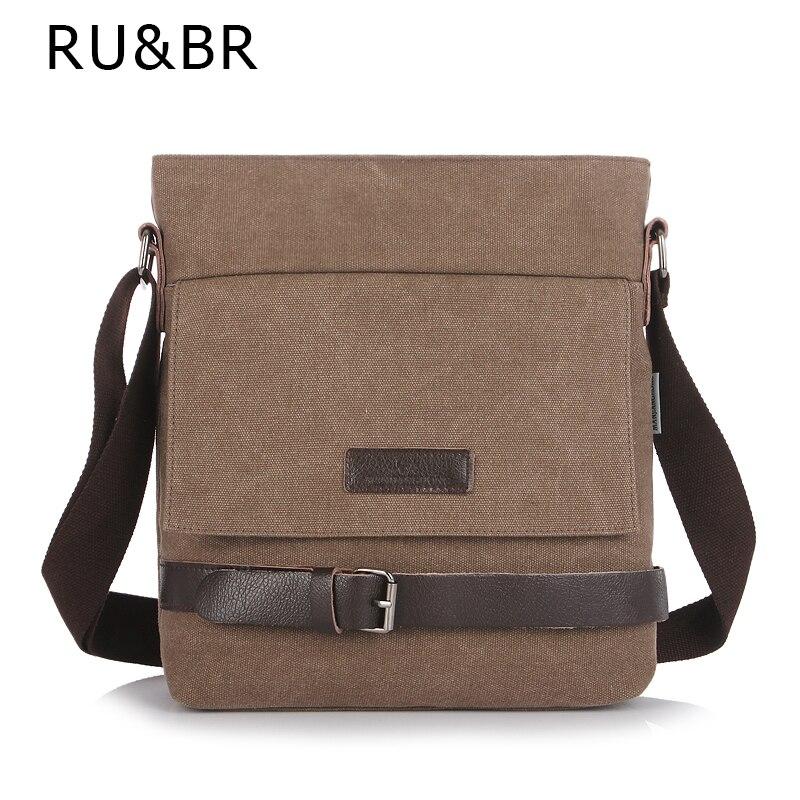 RU&amp;BR Men Canvas Messenger Bag High Quality Men Bags Crossbody Bag Men Casual Clamshell Package Portable Men Bag<br><br>Aliexpress