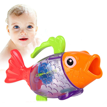 bath baby toys Hot Sale Cute Bathing toy sprinkler shower Measure Temperature Discoloration Fish Kids children swim bath toys(China)