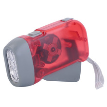 New LED led flashlight Torch Wind Up Hand Press Rechargeable Torch 3 LED Camp Flashlight Small(China)
