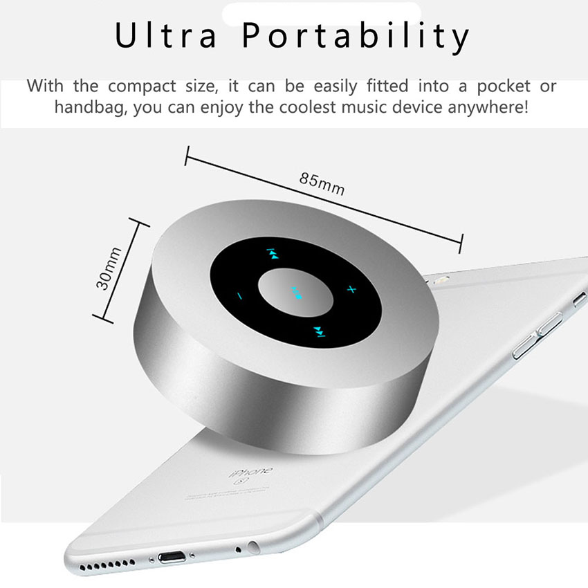 Aimitek Portable Bluetooth Speaker Touch Screen Mini Wireless Stereo Speaker silver-2