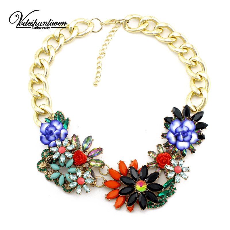 Vodeshanliwen High Quality Fashion Thick Gold Chain Necklaces Pendants Women Jewelry Flowers Choker Statement Necklace In Pendant From