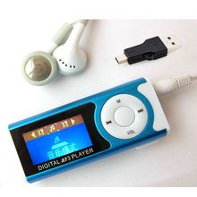 Hot Sell 1 pcs/lot New Style High Quality LCD Screen MP3 Music Player Mini Light Clip MP3 Players With Earphone&Mini USB