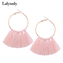 Lalynnly 9 Colors Round Circle Tassel Earrings Pink Red Tassel Earrings for Women Fashion Accessories Statement Earrings E11311
