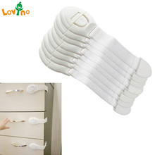 10pcs/Lot Drawer Door Cabinet Cupboard Toilet Safety Locks Baby Kids Safety Care Plastic Locks Straps Infant Baby Protection(China)
