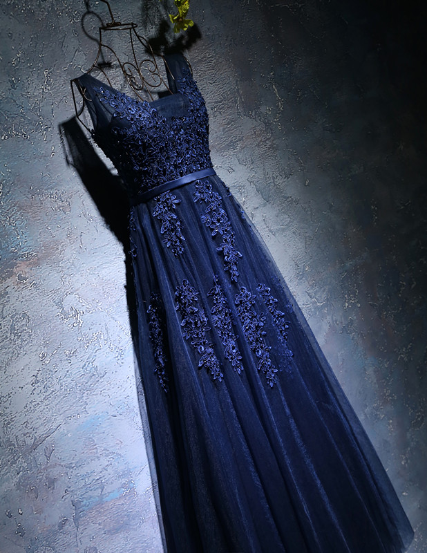 Buy Navy Blue A-line elegant Prom dress