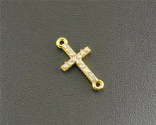 15 pcs Gold Plated Rhinestone Sideways Cross Connector DIY Metal Bracelet Necklace Jewelry Findings RS230(China)