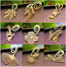 creative brass bookmark, vintage bookmarks animal/leaf/butterfly/dragonfly/feather shaped(China)